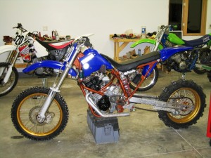 Not much left of the original KX500 frame with this YZF-R1 motor stuffed in it.